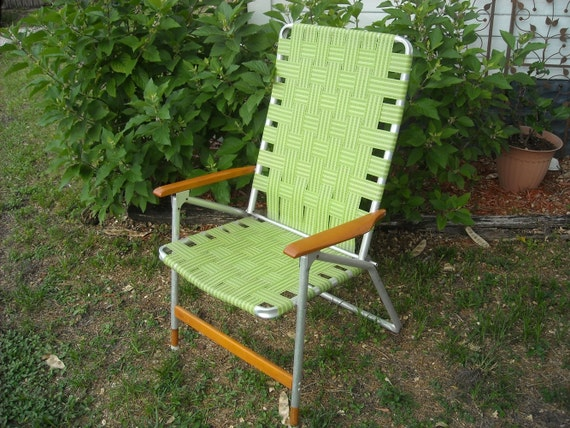 Mid Century Folding Lawn Chair Green Retro By Foxcreekvintage