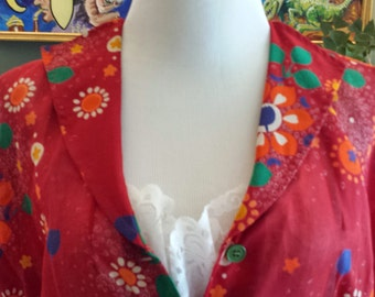 Vintage 1970's Sheer Maxi Made in Italy Bright Floral Elastic Waist, Size 48 XL