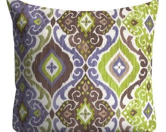 "Purple Green Outdoor Pillows, 20"" x 20"" Throw Pillow, Patio Pillows, Outdoor Medallion Pillows, Pillow Covers, Pool Pillows, Outside Pillows"