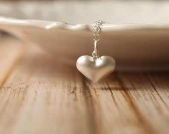 Puffed Heart Necklace, Available in Sterling Silver and Rose Gold Vermeil