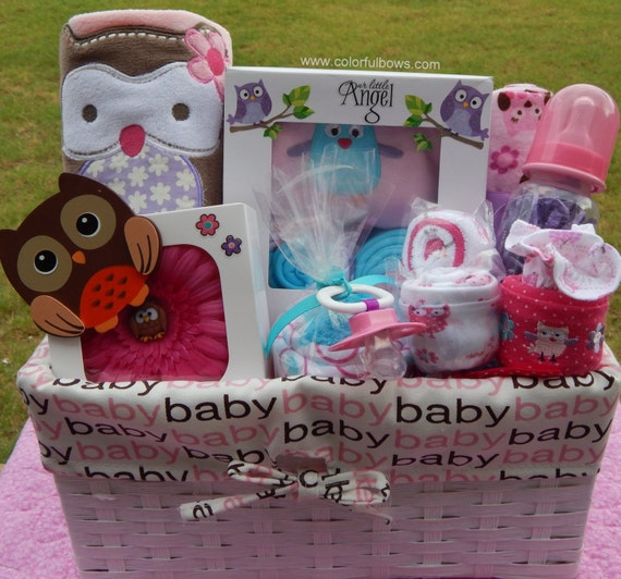 Baby Gift Baskets Beverly Hills : Baby owl shower theme premium plus girl by