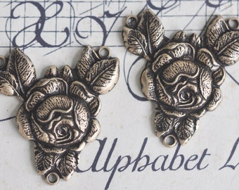TWO brass rose connectors for necklaces or earrings, Brass Ox