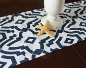 Navy Table Runner Tablecloth Runner Navy Wedding Runner Buffet Runner Navy and White Tablecloth Nautical Table Linens, Nautical Table Runner