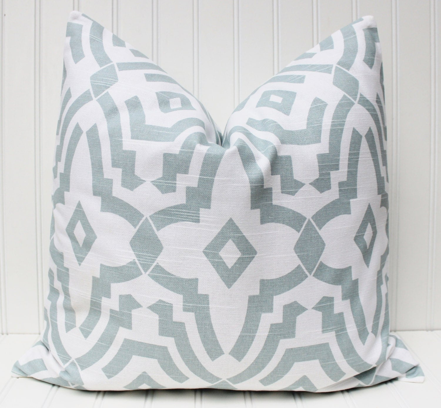 Light Blue Pillow Cover Throw Pillow by MariaClaireInteriors