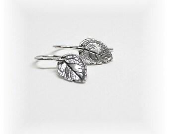 Minimal Earrings ~ Tiny Leaf Earrings ~ Nature Earrings ~ Small Dangle Drop Earrings ~ Dainty ~ Delicate Sterling Silver Earrings