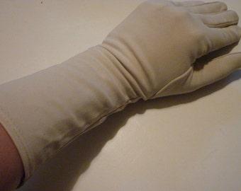 Beige vintage ladies' gloves, longer length