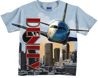 Boys Airplane Shirt, Personalized Airplane Birthday T-Shirt, Boys Plane Shirt, Boys Tee
