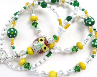 CHEERFUL IRISH OWL- Beaded Id Lanyard- Porcelain Owl, Wood, Turquoise, Pearls, & Crystals (Comfort Created)