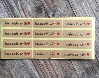 Hand Made with Love Heart Kraft Paper Label Stickers - 1.4cm x 4.5cm Seal Sticker - 60 seals