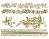Metallic tattoo: Henna inspired, gold metallic temporary tattoo armbands, bracelets and flowers- hope - flash, gold tattoos, gold mehndi