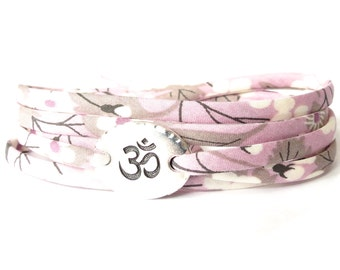 Om bracelet with Liberty fabric, Yoga wrap in lilac and pale grey florals, meaningful gift for best friend, UK made