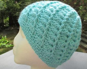 Crocheted Womans Hat - Spiral - Robin's Egg Blue - Beanie, Cloche