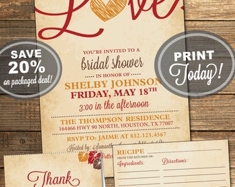 Bridal Shower Package, Invitation, Recipe Card, Thank You Card, Fall in Love, Red, Orange, Brown, Printable File (INSTANT Download)