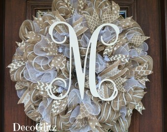 BURLAP and WHITE Wreath with INITIAL