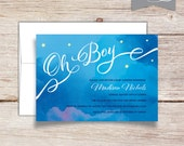 Oh Boy Watercolor Baby Shower Invitation