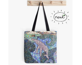 Whale and Boat Illustrated Tote Bag
