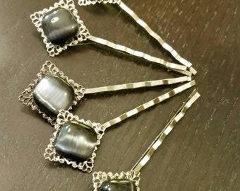 Diamond Shaped Silver Filigree Bobby Pins with Diamond Shaped Navy Blue Cats Eye Cabochons ... Set of 5