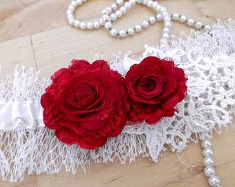 Veil Garter ~ Ivory & Red Wedding Garter - Silk, Veil and Lace with Roses