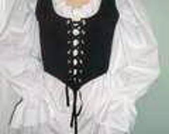 Romantic Renaissance Women Plus Size Chemise Shirt Only Wench Pirate Shirt Wedding, Theatrical, Costume