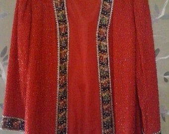 80s Laurence Kazar red sequinned silk jacket