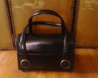 60s black faux snakeskin box style handbag