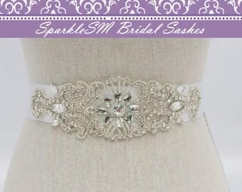 Wedding sash, Bridal belt, Bridal sash - Satin Ribbon, Crystal Rhinestone Beaded Applique, Couture Bridal Sash, SparkleSM Bridal Sashes, Mo