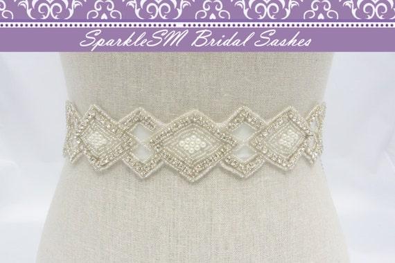 Crystal Bridal Sash, Rhinestone Bridal Sash, Wedding Sash, Rhinestone Pearl Bridal Belt, Bridal Belt Sash SparkleSM Bridal Sashes, Greta