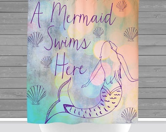 Mermaid Shower Curtain: A Mermaid Swims Here   12 Eyelet/Button Hole   Size and Pricing via Dropdown