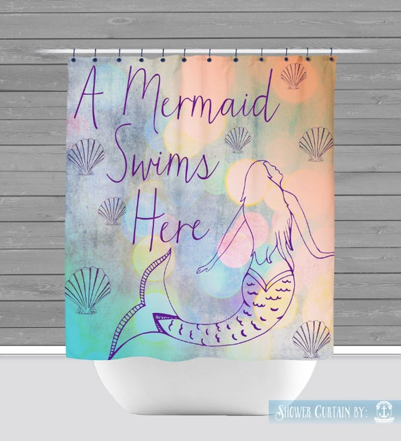 Mermaid Shower Curtain: A Mermaid Swims Here | Made in the USA | 12 ...
