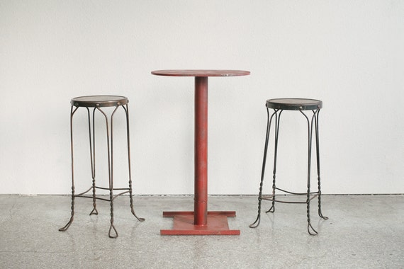Mid century industrial bar bistro table by homesteadseattle for Mid century bistro table