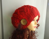 cable knit hat slouchy women men Slouchy Beanie Cable Hat  Knit Hat Chunky Knit Winter Fall Accessories Slouchy Knitted RED or ANY COLOR