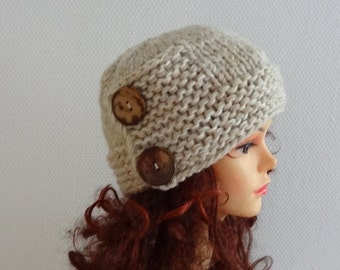 Hand knit hat Knit women hat Fall Winter Accessories Autumn Fashion Knit Hat Womens Hat Cloche Hat in oatmeal Womens Accessories Winter Hat