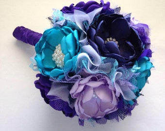 Fabric Bouquet - Large Size - Royal Purple, Lavender, Teal, and Navy Blue - Heirloom Bouquet, Colorful Fabric Bouquet, Bridal Bouquet,