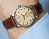 Classic watch Pobeda, mid century men's wrist watch, retro men's watch shabby face, arabic digits watch, premium leather strap new
