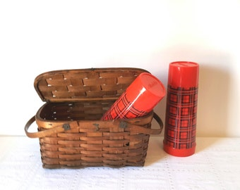 Vintage Rustic Wooden Basket Picnic Basket Summer Basket Lunch Dining Storage Home Decor Handled Basket