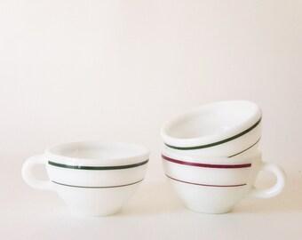 Vintage Anchor Hocking Striped Milk Glass Coffee Tea Cups Retro Tea Coffe Cups Vintage Kitchenware Retro Drinkware Red Green Striped Cups