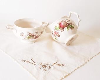 On Sale Vintage Harvest Time Johnson Brthers Creamer Sugar Bowl Set Vintage China Serving Floral Fruit China Cottage Chic China