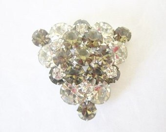 Vintage Jewelry  Large Pin Brooch Smokey Rhinestone Pin Faceted Large Round Stones Triangle Pin Brooch Smokey Flower Pin Brooch
