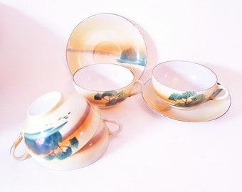 Antique Porcelain Tea Cups Saucers Vintage Hand Painted Japanese Tea Set Fine Bone China Tea Cups Painted Scenic Tea Cups Lakes House Scene