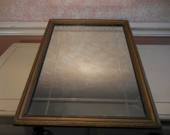 Antique Etched Wall Mirror with wood frame