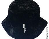 Black Crushed Velvet Unisex Bucket Hat | Glossy Hat | Plush Hat by Hamlet Pericles