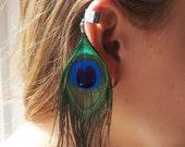 Peacock Feather Ear Cuff