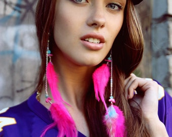 Long Feather Earrings - Pink Pink
