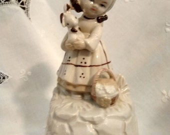 Vintage Musical Figurine Little Girl and Bunny