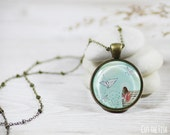 Turquoise Necklace - Jewelry - Paper Crane - Blue Jewelry - Blue Necklace - Origami Jewelry (14-2N)