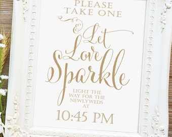 Let Love Sparkle Sign   Various Sizes   Printable sign   Bella   Antique Gold   I Create and You Print