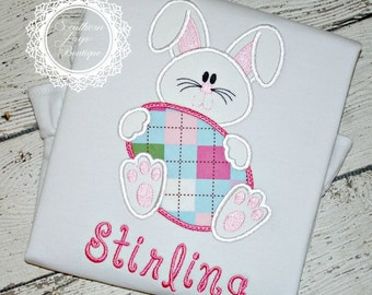 Easter Bunny Applique - Holiday Shirt - Boy's or Girl's Easter Design - Fabrics Optional
