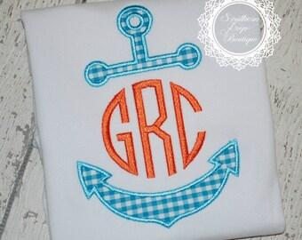 BOYS Anchor Monogram Applique - Summer Shirt - Monogram - Summer Design - Nautical Birthday Party