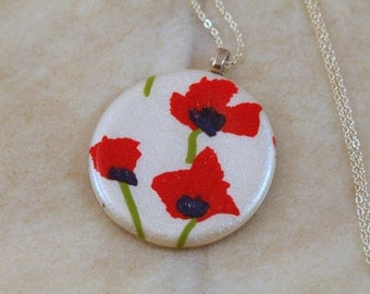 Red Poppies Polymer Clay Necklace