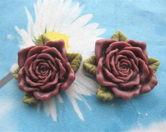 Large--2pc 45mm maroon resin  flower cabochon/cameo charms--rose flower with green leaves